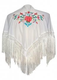 Spaanse manton wit diverse kleuren bloemen SMALL