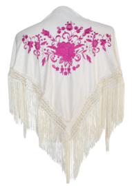 Spaanse manton/omslagdoek creme wit roze bloem SMALL
