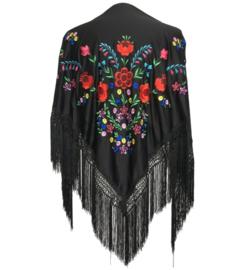 Spaanse manton zwart diverse kleuren bloemen Large