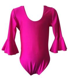 Flamenco body meisjes fuchsia roze - met 3/4 mouw
