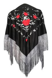 Spaanse manton /omslagdoek zwart rode rozen zilveren franjes