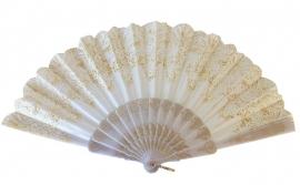 Spaanse flamenco waaier wit glitter