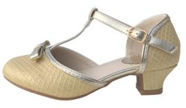Spaanse schoenen strikje goud Glamour NIEUW