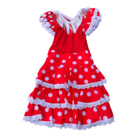 Spaanse flamenco jurk Niño rood wit