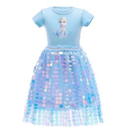 Frozen 2 Elsa jurkje blauw glitter + GRATIS ketting