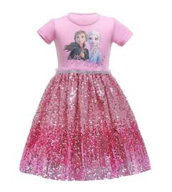 Frozen 2 Elsa & Anna jurkje roze glitter + GRATIS ketting