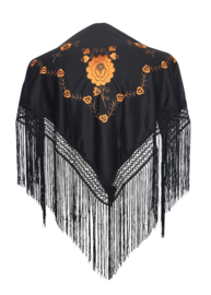 Spaanse manton/omslagdoek zwart/goud bruin SMALL