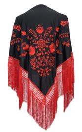 Spaanse manton zwart rode bloem rode franjes LARGE