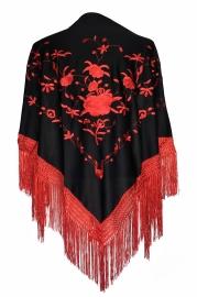 Spaanse manton/omslagdoek zwart rode rozen rode franjes