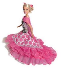 Spaanse Jurk Barbie Roze/Wit