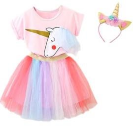 Eenhoorn jurk unicorn jurk verkleedset + GRATIS haarband