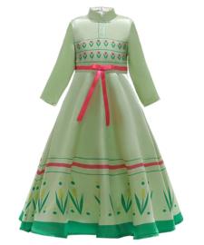 Frozen 2 Anna jurk groen roze + GRATIS kroon groen