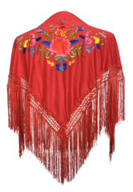 Spaanse manton/omslagdoek rood diverse bloemen SMALL