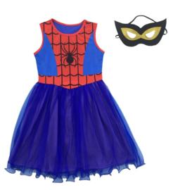 Spider girl superheld jurk + masker en GRATIS tas hanger