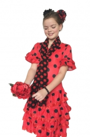 Spaanse jurk Deluxe rood zwart