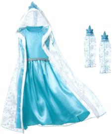 Frozen Elsa jurk cape bontkraag + GRATIS ketting
