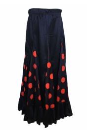 Spaanse flamenco rok meisjes zwart met rode stippen