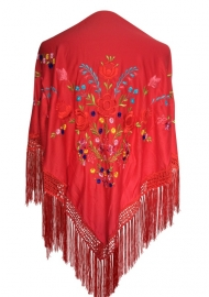 Spaanse omslagdoek rood diverse kleuren bloemen