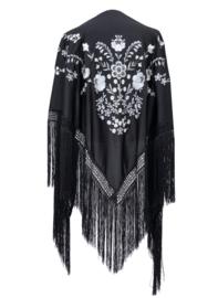 Foulard Chales Flamenco noir blanc Grande