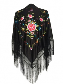 Flamenco shawl black colored flowers
