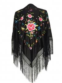 Spaanse manton zwart diverse kleuren bloemen en rozen