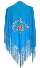 Spaanse manton blauw diverse kleuren bloemen