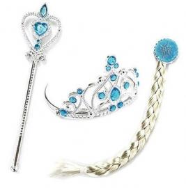 Elsa Frozen verkleed set : kroon, vlecht en toverstraf