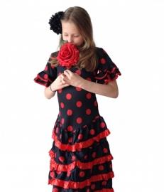 Spaanse Jurk Deluxe zwart rood