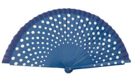 Spaanse flamenco waaier donker blauw/wit (hout)