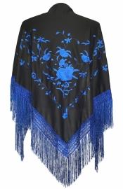 Spaanse manton zwart met blauwe rozen
