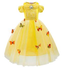 Prinsessenkleedje gele vlinders korte mouw Luxe + handschoenen