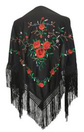 Spaanse manton/omslagdoek zwart met rode rozen