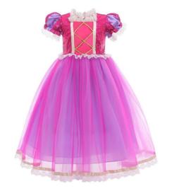 Prinsessenkleedje fel roze paars Deluxe + GRATIS kroon roze