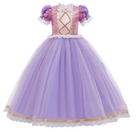 Prinsessenkleedje paars roze Deluxe + GRATIS kroon paars