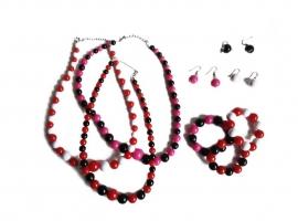 Spaanse ketting, oorbellen en armband, rood/zwart
