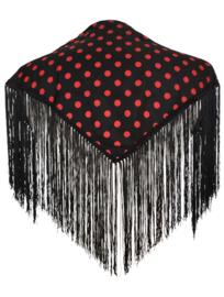 Spaanse manton/omslagdoek zwart rode stippen XS