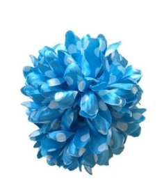 Flamenco hair flower blue white dots