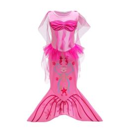 Zeemeermin kleedje fel roze met staart + GRATIS kroon
