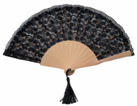 Flamenco waaier zwart kant stof en hout