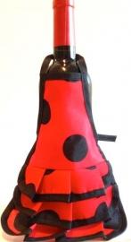 Spaanse flamenco schort wijn fles rood zwart