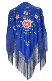 Spaanse manton/omslagdoek donker blauw diverse bloemen