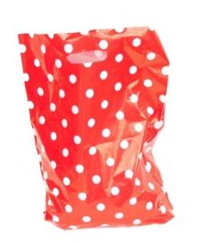 Plastic tas rood met witte stippen