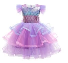Zeemeermin prinsessenkleedje schubben Deluxe + GRATIS kroon
