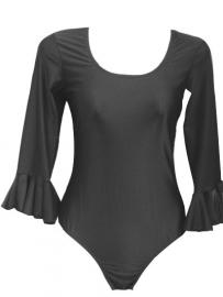 Flamenco body dames, zwart - met 3/4 mouw