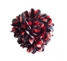 Flamenco hair flower black red dots