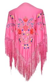 Spaanse manton/omslagdoek fel roze diverse bloemen