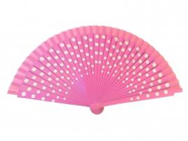 Spaanse flamenco waaier roze/wit (hout)