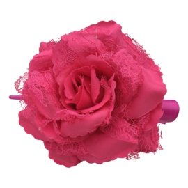 Spaanse (haar) roos, roze met kant
