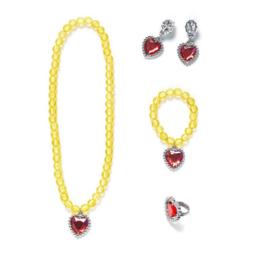 Prinsessen set geel- ketting, armband, oorbellen + ring