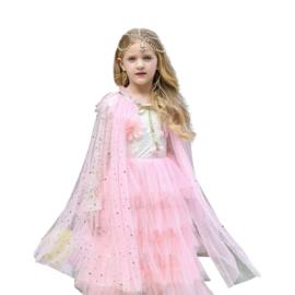 Prinsessen cape licht roze glitter + GRATIS kroontje